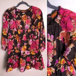 Lands End girls brown floral dress size 12